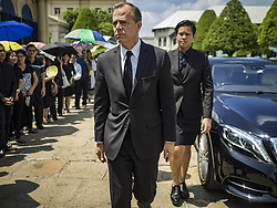 October 14, 2016 - Bangkok, Bangkok, Thailand - GLYN T. DAVIES, the US Ambassador to Thailand, walks to the Sahathai Samakom Pavilion in the Grand Palace to pay respects to Bhumibol Adulyadej, the King of Thailand, who died Oct. 13, 2016. He was 88. His death comes after a period of failing health. With the king's death, the world's longest-reigning monarch is Queen Elizabeth II, who ascended to the British throne in 1952. Bhumibol Adulyadej, was born in Cambridge, MA, on 5 December 1927. He was the ninth monarch of Thailand from the Chakri Dynasty and is known as Rama IX. He became King on June 9, 1946 and served as King of Thailand for 70 years, 126 days. He was, at the time of his death, the world's longest-serving head of state and the longest-reigning monarch in Thai history. (Credit Image: © Jack Kurtz via ZUMA Wire)