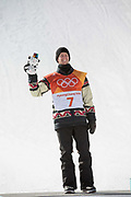 Max Parrot from Canada, 2nd. Celebrations following, Redmond Gerard, USA, winning the mens Snowboard Slopestyle Finals at the Pyeongchang Winter Olympics on the 11th February 2018 in Phoenix Snow Park in South Korea