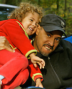 Bi-racial Family, Father Tussles with Daughter, 2-Year-Old, Camping, Codorus State Park, York Co., PA
