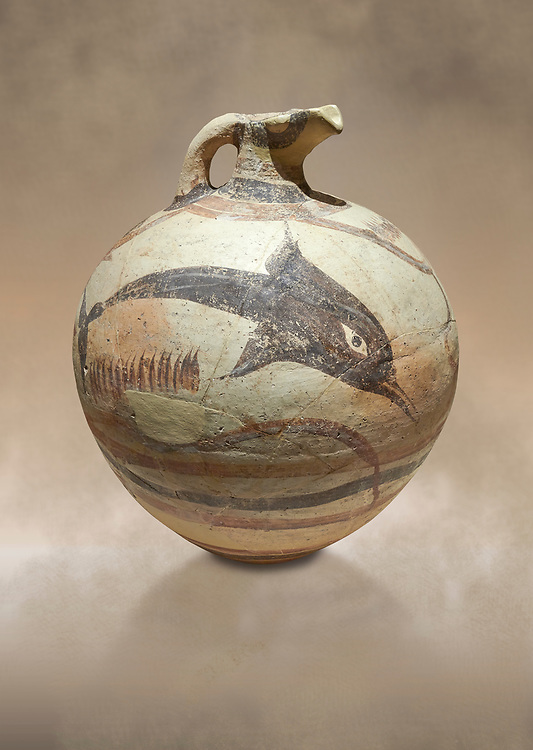 Large Minoan polychrome jug decorated with dolphins, Akrotiri, Thira (Santorini) National Archaeological Museum Athens. 17th-16th cent BC.<br /> <br /> The illustrated dolphins on this jug are swimming happily in a marine scape, by the same painter as the 'Galloping Lions' jug .<br /> <br /> If you prefer to buy from our ALAMY PHOTO LIBRARY  Collection visit : https://www.alamy.com/portfolio/paul-williams-funkystock/minoan-art-artefacts.html . Type -   Athens    - into the LOWER SEARCH WITHIN GALLERY box. Refine search by adding background colour, place, museum etc<br /> <br /> Visit our MINOAN ART PHOTO COLLECTIONS for more photos to download  as wall art prints https://funkystock.photoshelter.com/gallery-collection/Ancient-Minoans-Art-Artefacts-Antiquities-Historic-Places-Pictures-Images-of/C0000ricT2SU_M9w
