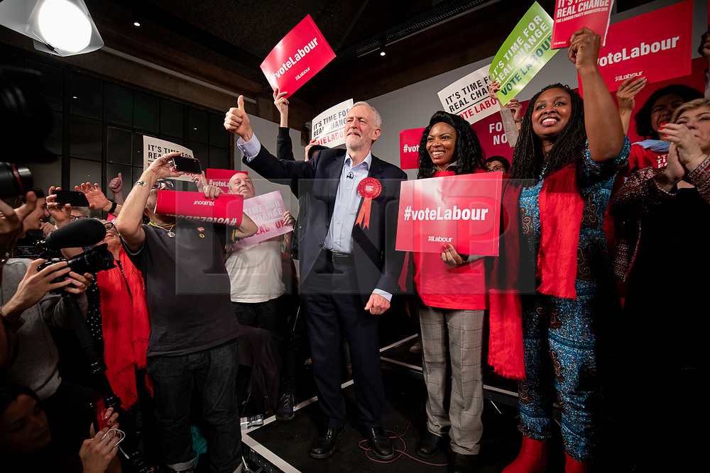© Licensed to London News Pictures. 11/12/2019. London, UK. Leader of the Labour Party Jeremy Corbyn on stage with supporters at the party's final rally of the General Election campaign. Voters will head to polling stations tomorrow for the 2019 General Election. Photo credit: Rob Pinney/LNP