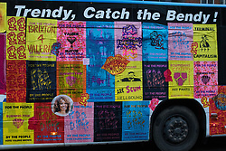 London, UK. 5th May, 2021. Val's Love Bus, used by political party Burning Pink during campaigning for its candidate Valerie Brown to be elected as London Mayor, is pictured during a March On The Motorway event on the eve of the London Mayoral election. Burning Pink is a radical political party seeking rapid action to combat the climate emergency through the setting up of citizens assemblies. Activists accompanying the campaign bus marched from a rally at St Pancras Church to the Westway, where they were intercepted by the police.