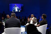 Iyinoluwa Aboyeji, Managing Partner, Street Capital, Nigeria, Fatoumata Ba, Founder and Chief Executive Officer, Janngo, France; Young Global Leader,<br /> Bright Simons, President, MPedigree, Ghana; Young Global Leader,<br /> Chika Uwazie, Journalist, Quartz, Nigeria,<br /> Yinka Adegoke, Africa Editor, Quartz - Atlantic Media, USA<br /> speaking during the session Africa's Innovators of the Year at the World Forum World Economic Forum on Africa 2019. Copyright by World Economic Forum / Greg Beadle