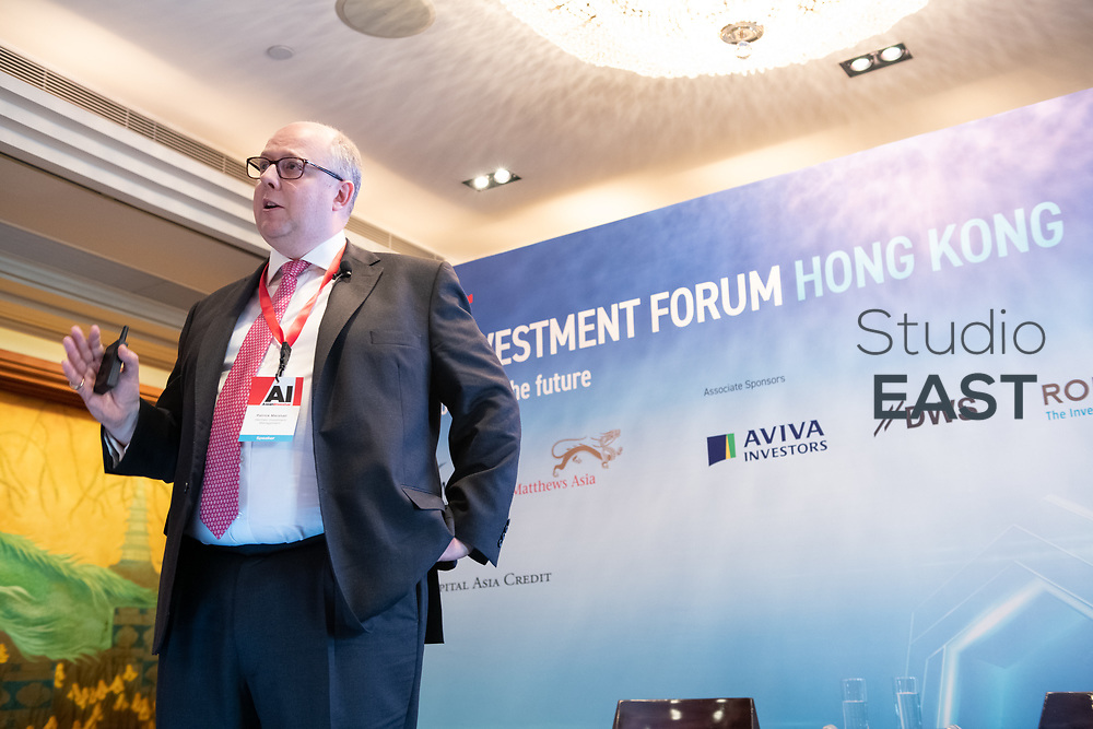 Presentation by Patrick Marshall, Head of Private Debt and CLOs, Hermes Investment Management, during AsianInvestor's 6th Insurance Investment Forum at the Mandarin Oriental Hotel, in Hong Kong, China, on 12 March 2019. Photo by Lucas Schifres/Studio EAST