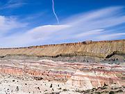 Near Hanksville, Utah - Bentonite Hills (foreground) and Factory Butte (background).
