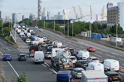 ©Licensed to London News Pictures 03/07/2020     <br /> Greenwich, UK. Very heavy traffic this morning on the A102 Blackwall tunnel approach in Greenwich, London. With coronavirus lockdown easing this weekend the Prime Minister Boris Johnson is asking the public to act responsibly. More than 10 million people are expected to travel by road to stay over at family and friends homes causing traffic gridlock. Photo credit: Grant Falvey/LNP