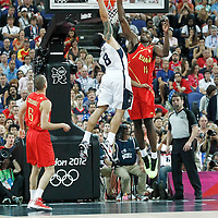 12 August 2012: USA Deron Williams goes for the dunk over Serge Ibaka during 107-100 Team USA victory over Team Spain, during the men's Gold Medal Game, at the North Greenwich Arena, in London, Great Britain.