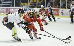 14.12.2014, Stadthalle, Klagenfurt, AUT, EBEL, EC KAC vs Dornbirner Eishockey Club, 27. Runde, im Bild Olivier Magnan (Dornbirner Eishockey Club, #2), Jamie Lundmark (EC KAC, #74) // during the Erste Bank Icehockey League 27th round match betweeen EC KAC and Dornbirner Eishockey Club at the City Hall in Klagenfurt, Austria on 2014/12/14. EXPA Pictures © 2014, PhotoCredit: EXPA/ Gert Steinthaler