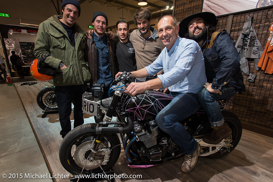 "Yamaha's ""yard Built"" program for custom builders at EICMA, the largest international motorcycle exhibition in the world. Milan, Italy. November 17, 2015.  Photography ©2015 Michael Lichter."