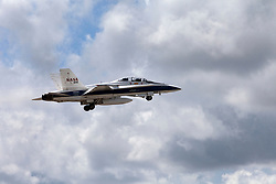 A NASA F-18 jet has taken off from the agency's Shuttle Landing Facility at NASA's Kennedy Space Center in Florida. Several flights a day have been taking place the week of Aug. 21, 2017 to measure the effects of sonic booms. It is part of NASA's Sonic Booms in Atmospheric Turbulence, or SonicBAT II Program. NASA at Kennedy is partnering with the agency's Armstrong Flight Research Center in California, Langley Research Center in Virginia, and Space Florida for a program in which F-18 jets will take off from the Shuttle Landing Facility and fly at supersonic speeds while agency researchers measure the effects of low-altitude turbulence caused by sonic booms.
