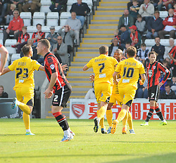 Bristol Rovers celebrate the first goal from Lee Mansell - Mandatory byline: Neil Brookman/JMP - 07966 386802 - 03/10/2015 - FOOTBALL - Globe Arena - Morecambe, England - Morecambe FC v Bristol Rovers - Sky Bet League Two