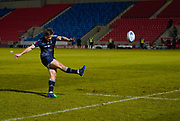 Sale Sharks fly-half AJ McGinty converts a try during a Gallagher Premiership Round 12 Rugby Union match, Friday, Mar 05, 2021, in Eccles, United Kingdom. (Steve Flynn/Image of Sport)