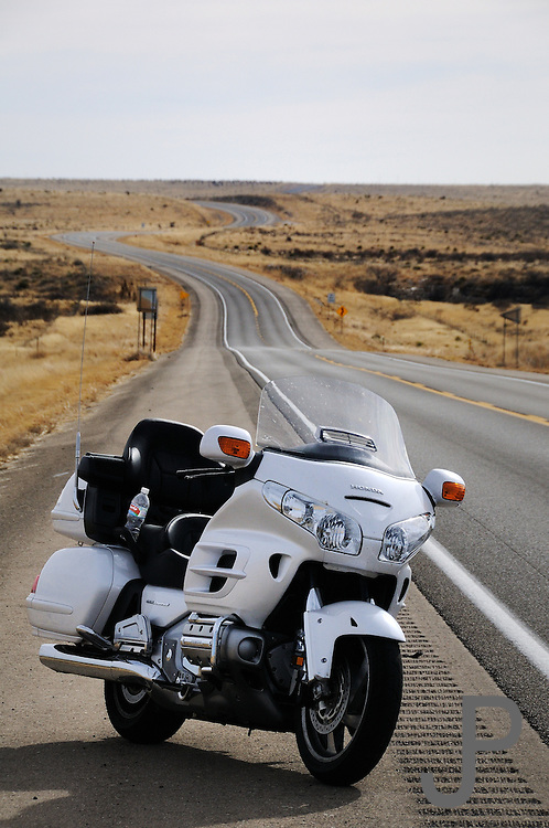 2008 Honda Goldwing GL-1800 on lonely stretch of New Mexico highway.