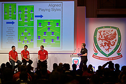 NEWPORT, WALES - Friday, May 24, 2019: L-R Ryan Maye, Tom Ramasut, Dave Adams and Richard Williams during day one of the Football Association of Wales National Coaches Conference 2019 at the Celtic Manor Resort. (Pic by David Rawcliffe/Propaganda)