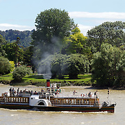 The Waimarie Riverboat in Wanganui City, New Zealand, is a popular tourist attraction. The steam paddleboat travels the Whanganui River from Wanganui to Upokongaro and back. The distance is approximately 13 kilometers and takes about two hours.  2011.  26th December 2010. Photo Tim Clayton.