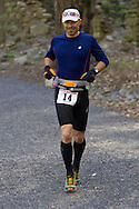 Gardiner, New York - Christopher Campos competes in the Rock the Ridge 50-mile endurance challenge race at the Mohonk Preserve on May 4, 2013. The race is part of Mohonk's 50th anniversary celebration and a fundraiser for the preserve.