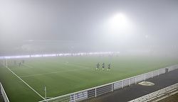 Tæt tåge over stadion under kampen i 1. Division mellem FC Helsingør og Fremad Amager den 27. november 2020 på Helsingør Stadion (Foto: Claus Birch).