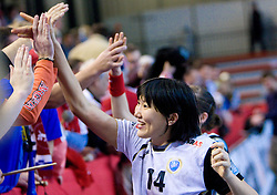 Ljudmila Bodnjeva of Krim with fans of Krim at handball match of Round 5 of Champions League between RK Krim Mercator and Metz Handball, France, on January 9, 2010 in Kodeljevo, Ljubljana, Slovenia. (Photo by Vid Ponikvar / Sportida)