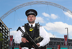 "Police presence outside the stadium during the Emirates FA Cup Final at Wembley Stadium, London. PRESS ASSOCIATION Photo. Picture date: Saturday May 27, 2017. See PA story SOCCER Final. Photo credit should read: Nick Potts/PA Wire. RESTRICTIONS: EDITORIAL USE ONLY No use with unauthorised audio, video, data, fixture lists, club/league logos or ""live"" services. Online in-match use limited to 75 images, no video emulation. No use in betting, games or single club/league/player publications"