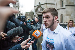 © Licensed to London News Pictures. 20/02/2018. London, UK. TOM EVANS, father of ALFIE EVANS, speaks to the press outside the High Court after a judge ruled that doctors can turn off the life support machine keeping his 21-month-old son alive. Photo credit: Rob Pinney/LNP