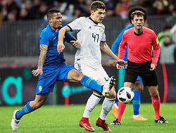 MOSCOW, March 24, 2018  Gabriel Jesus (L) of Brazil vies with Roman Zobnin of Russia during the international friendly match between Russia and Brazil at Luzhniki Stadium in Moscow, Russia, on March 23, 2018. Brazil won 3-0. (Credit Image: © Wu Zhuang/Xinhua via ZUMA Wire)