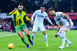 Hal Robson-Kanu of West Bromwich Albion is marked by Martin Olsson of Swansea City and Joe Rodon of Swansea City - Mandatory by-line: Ryan Hiscott/JMP - 28/11/2018 - FOOTBALL - Liberty Stadium - Swansea, England - Swansea City v West Bromwich Albion - Sky Bet Championship