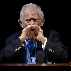 Austin, TX 27APR05:  Pulitzer-Prize-winning novelist Norman Mailer, 82,  speaks to an audience at the University of Texas at Austin who will  acquire his more than 10-ton literary archive for $2.5 million.<br /> April 27 2005 ©Bob Daemmrich