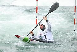 Giovanni de Gennaro of Italy competes during the Kayak Single (K1) men race in Semifinal of European Open Canoe Slalom Cup on April 18, 2021 in Tacen, Ljubljana, Slovenia. Photo by Vid Ponikvar / Sportida