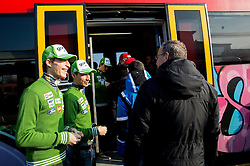 Jurij Tepes and Robert Kranjec prior to the departure of a train Ljubljana - Jesenice where will be placed press conference of Slovenian Ski jumping team, on March 18, 2015 in Ljubljana train station, Slovenia. Photo by Vid Ponikvar / Sportida