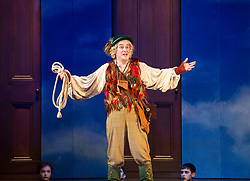 The Magic Flute <br /> Music by Mozart <br /> Welsh National Opera, Wales Millennium Centre, Cardiff, Wales, Great Britain <br /> 13th February 2019 <br /> Directed by Dominic Cooke <br /> <br /> Mark Stone as Papageno<br /> <br /> Photograph by Elliott Franks
