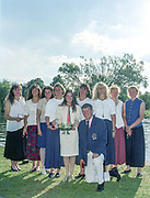 """Henley on Thames. Henley. GREAT BRITAIN;  <br /> GBR W8+  [Nautilus] after the prize giving. left to right, Cath BISHOP, Dot BLACKIE, Miriam BATTEN, Sue WALKER, Suzie ELLIS, Kate POLLITT, Ali GILL, Annmarie PHELPS [Nee STAPLETON] and Joanne TURVEY Coach, Bill MASON.<br /> <br /> 1995 Women's Henley Regatta. Henley Reach. River Thames.<br /> <br /> [Mandatory Credit; """"Photo, Peter Spurrier/Intersport-images]"""