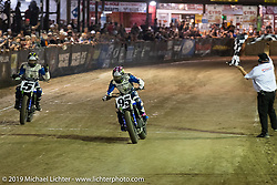 AMA flattracker (no. 95) JD Beach on his Yamaha MT-07 racer crosses the finish line of the AMA Flat track racing at the Sturgis Buffalo Chip during the Sturgis Black Hills Motorcycle Rally. Sturgis, SD, USA. Sunday, August 4, 2019. Photography ©2019 Michael Lichter.