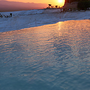 Sunset In Pamukkale Pool, Turkey