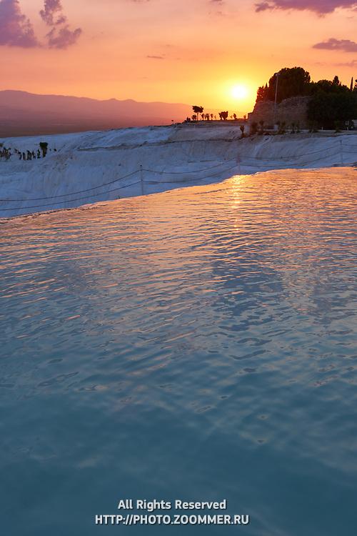 Sunset In Pamukkale Pool, Turkey