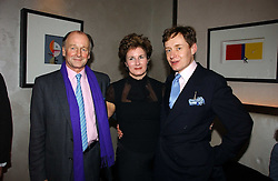 Left to right, SIMON PARKER-BOWLES and NICK & ALEX FOULKES at a party to celebrate the publication of 'Dancing into Waterloo' by Nick Foulkes held at The Westbury Hotel, Conduit Street, London on 14th December 2006.<br />