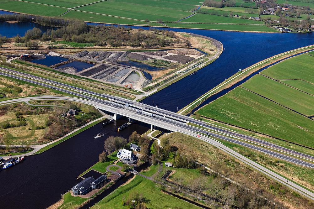Nederland, Friesland, Waldwei, 01-05-2013; Fonejachtbrug in A31 over Prinses Margrietkanaal in de N31. Het kanaal is onderdeel van de hoofdvaarroute van Amsterdam via Lemmer naar Delfzijl.<br /> Bridge on the Prinses Margrietkanaal, Friesland near Leeuwarden, North Netherlands. The channel is part of the main shipping route to Amsterdam.<br /> luchtfoto (toeslag op standard tarieven);<br /> aerial photo (additional fee required);<br /> copyright foto/photo Siebe Swart