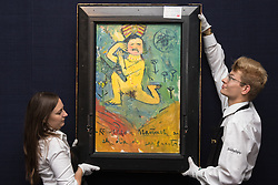 """Sotheby's, Mayfair, London, October 9th 2015. Expected to fetch up to $60,000,000 at auction, Sotheby's presents """"the finest Blue Period Picasso to come to market in a generation"""", painted in 1901 when Pablo Picasso was just shy of 20 years old. PICTURED: Painted on the reverse side of La Gommeuse, is another PIcasso; the purchaser of this piece gets two Picassos for the price of one.  // Contact: paul@pauldaveycreative.co.uk Mobile 07966 016 296"""