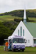 The village of Na'alehu in the district of Ka'u on the Big Island of Hawaii, USA, America