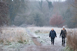 © Licensed to London News Pictures 31/12/2020.        Sidcup, UK. A freezing cold wintery scene at Footscray Meadows in Sidcup, South East London this new years eve as the country wakes up to one of the coldest days of 2020. Photo credit:Grant Falvey/LNP