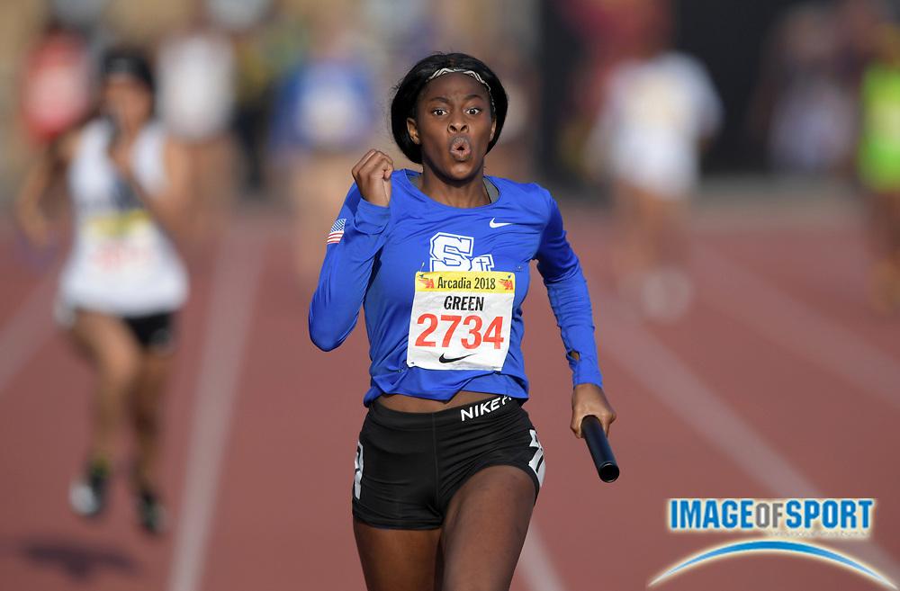 Apr 7, 2018; Arcadia, CA, USA; Tessa Green (2734) of Santa Margarita runs the anchor leg in the girls seeded 4 x 100m relay during the 51st Arcadia Invitational at Arcadia High.