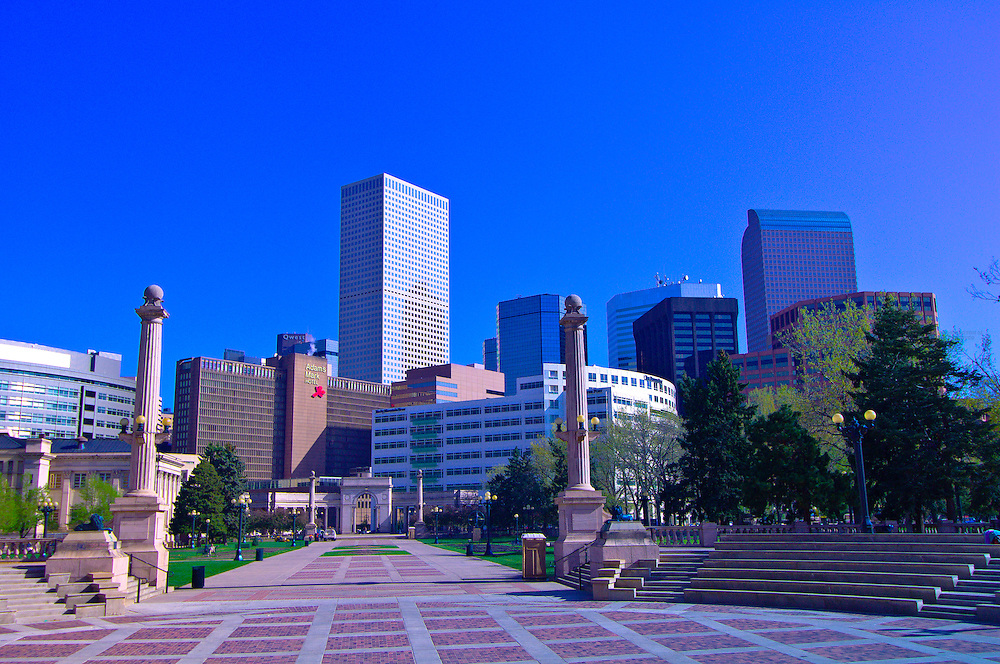 Downtown Denver skyline with the Greek Amphitheater of Civic Center Park in foreground, Denver, Colorado USA