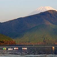 Asia, Japan, Hakone. Early morning views of Mt. Fuji from Lake Ashi in the Fuji-Hakone-Izu National Park.