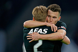 Oussama Idrissi #11 of AZ Alkmaar scores and celebrate with Jonas Svensson #2 of AZ Alkmaar during the Dutch Eredivisie match round 25 between Ajax Amsterdam and AZ Alkmaar at the Johan Cruijff Arena on March 01, 2020 in Amsterdam, Netherlands
