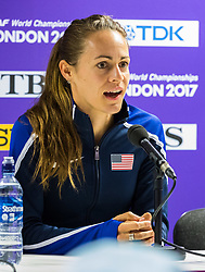 London, 03 August 2017. Jenny Simpson, 2016 Olympic 1500m bronze medalist & seven-time USATF champion at Team USATF press conference ahead of the IAAF World Championships London 2017 at the London Stadium.