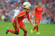 Neil Taylor of Wales in action. Euro 2016 qualifying match, Wales v Israel at the Cardiff city stadium in Cardiff, South Wales on Sunday 6th Sept 2015.  pic by Andrew Orchard, Andrew Orchard sports photography.
