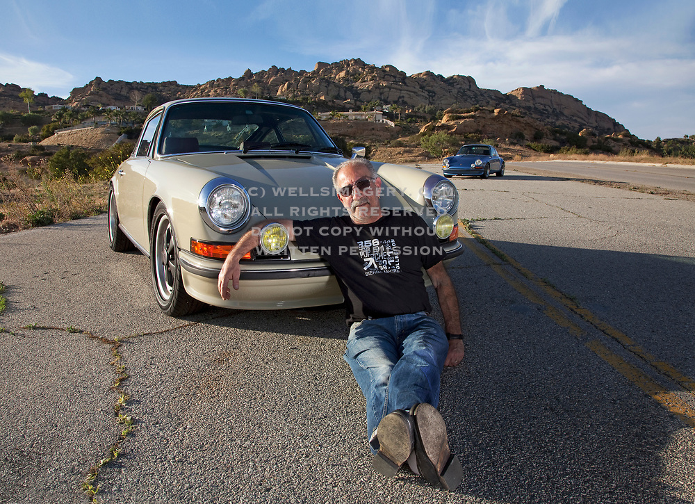 Image of Tony Gerace and his Beige Gray 1972 Porsche 911T in North Hollywood, Los Angeles, California, America west coast by Randy Wells