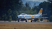 F-86 Saber of the Bremont Horsemen performs at the Oregon International Airshow.