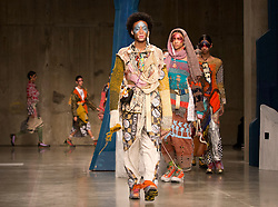 Models on the catwalk during the Matty Bovan Fashion East Autumn/Winter 2017 London Fashion Week show at the Topshop Show Space, Tate Modern, London.