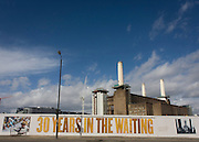 Battersea power station (with its 4th chimney removed for renovation) where future exclusive housing will be built in the Nine Elms development, south London.