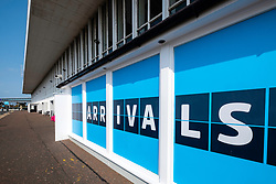 Exterior of Arrivals at  passenger terminal at Prestwick Airport in Ayrshire, Scotland, UK